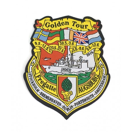 "Patch - F213 Fregatte AUGSBURG ""Golden Tour"" Letzte Tour 2019"